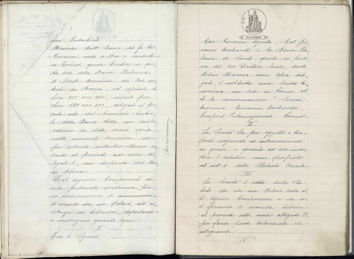 atto costitutivo Società Anonima Giovanni Ambrosetti Trasporti Internazionali