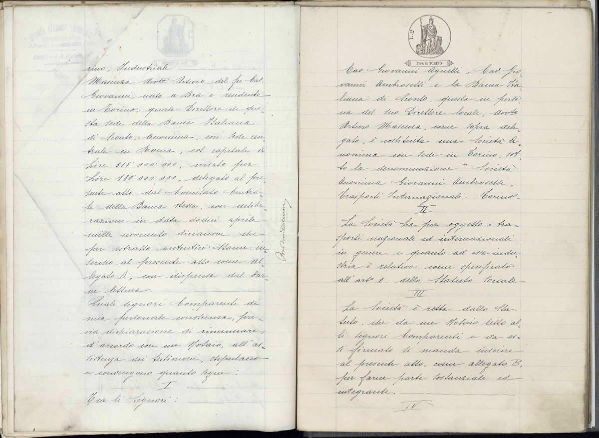 Gründungsvertrag der Aktiengesellschaft Giovanni Ambrosetti Trasporti Internazionale
