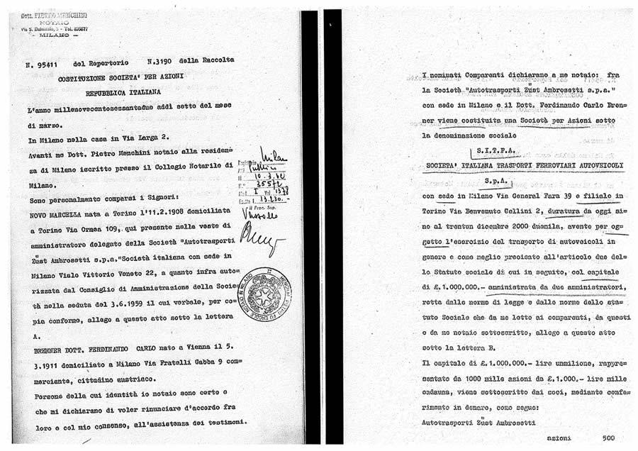 7 Marzo 1962 - Atto Costitutivo SITFA