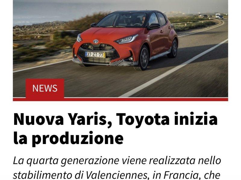 Nuova Yaris, Toyota inizia la produzione