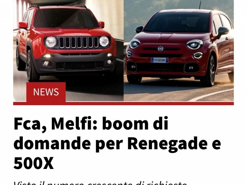 Fca, Melfi: boom of request for Renegade and 500X