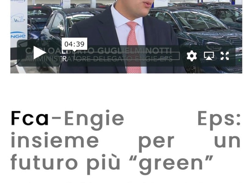"""Fca-Engie Eps: insieme per un futuro più """"green"""""""