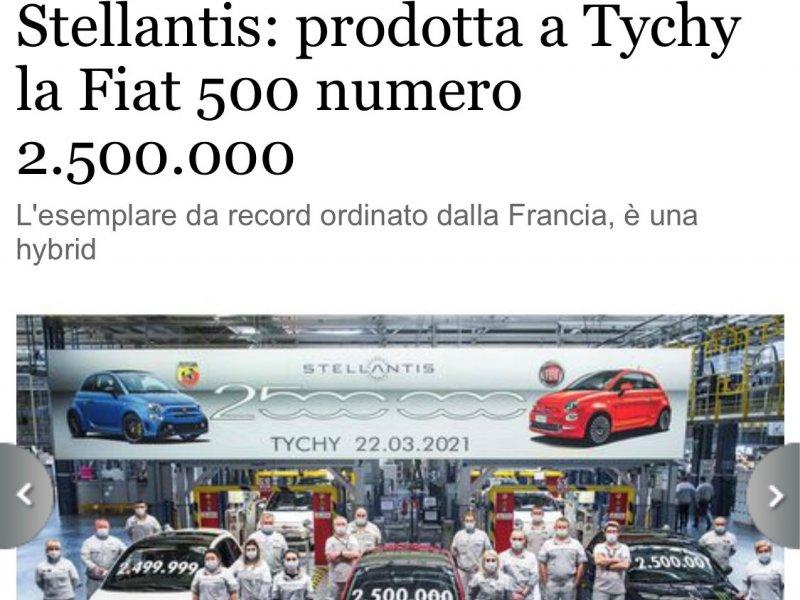 Stellantis:  a Tychy la Fiat 500 numero 2.500.000