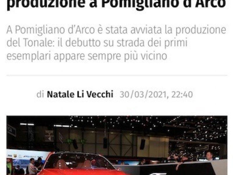 AR Tonale: avviata la produzione a Pomigliano
